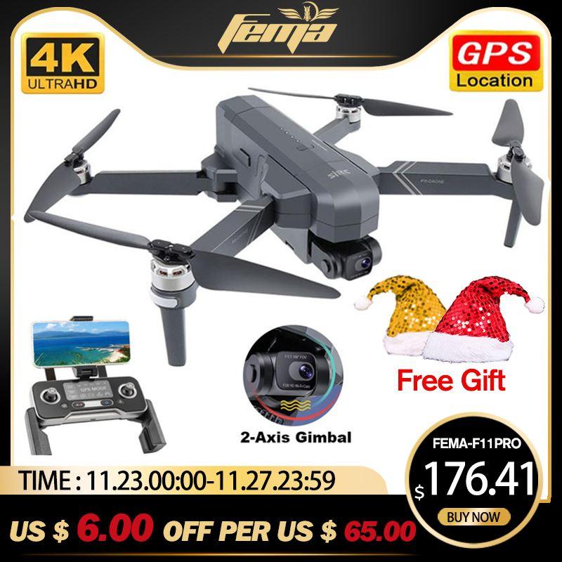 FEMA F11 4K PRO GPS Drones 4K Video Professional 5G FPV 2-axis Anti-shake Gimbal Camera Quadcopter Drone Brushless Vs SG906 Pro2